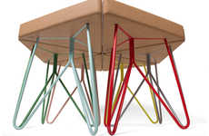 Versatile Triangular Perches - The Tres Stool Series Fits Seamlessly Together for Adaptable Design