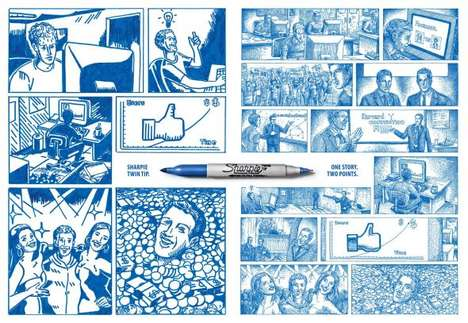 The Sharpie Twin Tip Campaign Retells 'The Social Network'