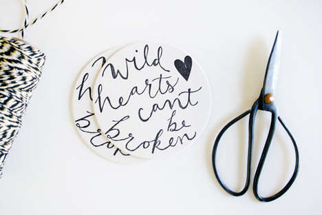 Handwritten Sentimental Coasters - The 'Wild Hearts Can't Be Broken' Wedding Coasters are Lovable
