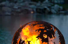 Woodland Sphered Fire Pits - This 'Up North' Sphere Outdoor Fire Pit Displays a Woodland