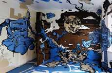 Graffiti-Covered Demolition Projects - This Interior is Decorated for a Graffiti Art Festival