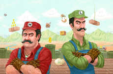 Humanized Cartoon Depictions - These Realistic Retro Illustrations of the Mario Brothers Are Amazing