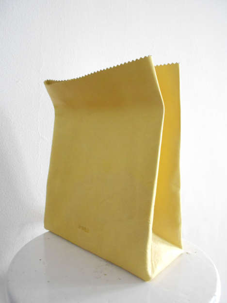 Deceiving Paper Bag Purses - These Yellow Paper Bag Purses Falsely Appear to be Disposable