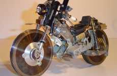 Motorcyle Art - Motorbike Concept from Recycled VCR and PC parts