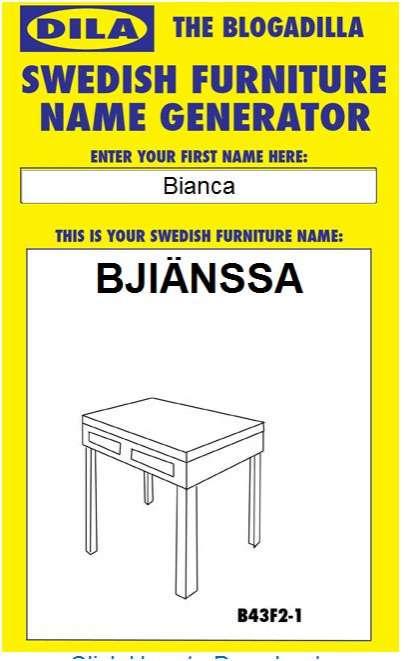 Personalised Swedish Furniture Name Generator