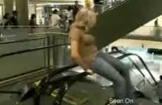 Extremely Weird Mall Exercises - Spinning Blonde on Escalator Railings