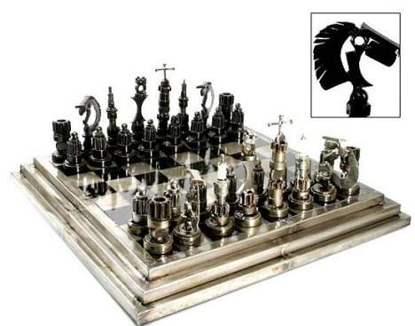 Recycled Auto Part Chess Set