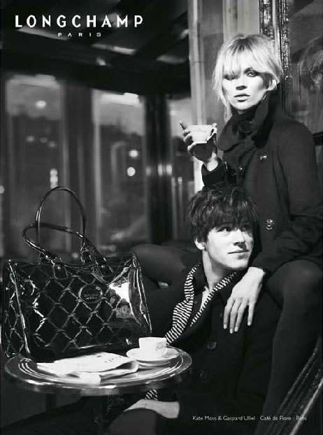Romantic Cafe Fashion Ads - Kate Moss & Gaspard Ulliel for Longchamp