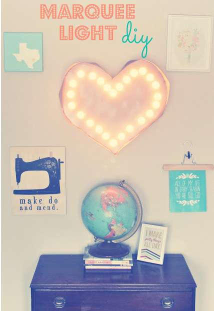DIY Heart Marquee Lights - This 'Oh, Sweet Joy!' Craft is an Adorably Warm Decoration Item