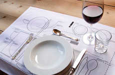 Dinner Etiquette Placemat Diagrams - Learn How to Eat and Use Your Utensils Properly for Fine Dining
