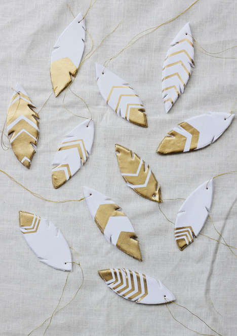 Hanging Clay Pottery Feathers