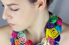Floral Fabric Accessories - The Peru Textile Jewelry Collection by Claudia Stern is Textural