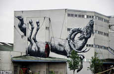 Twisted Severed Animal Murals - This Odd Street Art Features a Ram That's Been Cut Down the Middle
