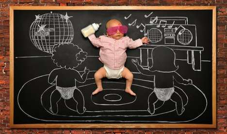 Baby Blackboard Adventures - Photographer Anna Eftimie Places Newborns in Creative Situations