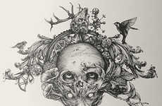 Nature-Infused Skull Portraits