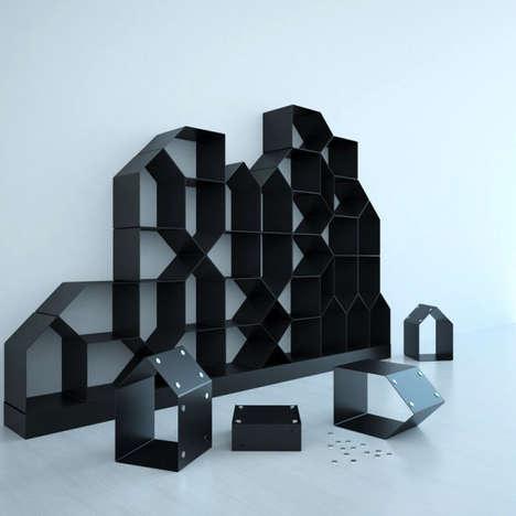 Magnetic Pentagon Style Bookshelves