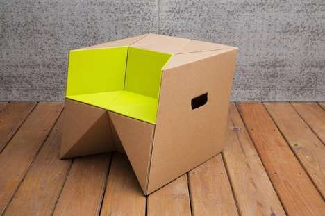 Cardboard Origami Child Stools - This Upcycled Hand-Crafted Child Stool Lets Kids Sit and Step Up