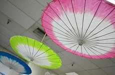 DIY Tip-Dyed Parasols - This Tie Dye Parasol is a Pretty Burst of Color in Any Setting