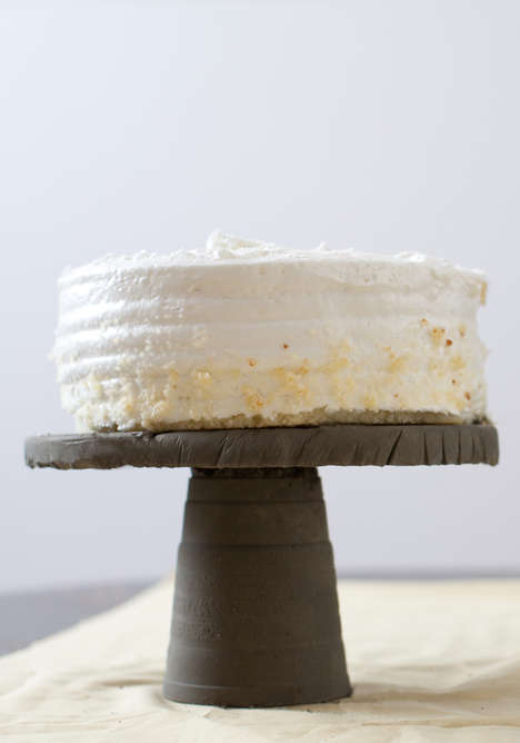 This DIY Cake Stand is Rustic-Modern in its Textured Concrete Design