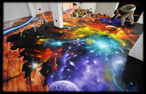 Galaxy-Painted Floor Designs