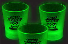Illuminated 8-Bit Shot Glasses - These Space Invaders Glow-in-the-Dark Booze Cups are Awesome