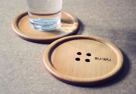 Button-Shaped Wooden Coasters