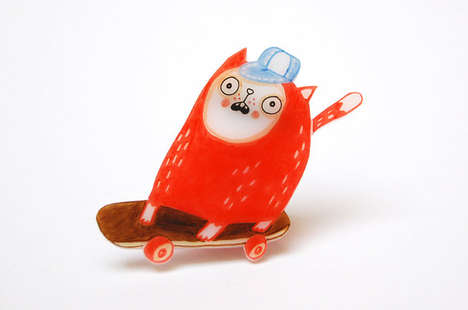 Shocked Shrink Plastic Brooches - Dana Damki's Shrink Plastic Jewelry Creatures are Cute and Funny