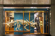 Gold Prehistoric Fashion Displays - Gold Dinosaurs are Used in the Louis Vuitton Displa