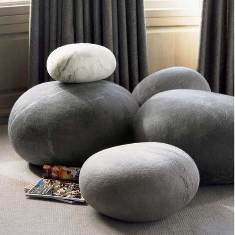 Rock-Resembling Furniture - These Comfy Footstools Look Like Sleek Stones