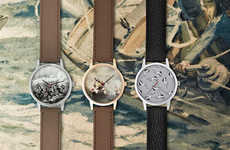 Patterned Analogue Watch Faces - These Frankie Watches by I Love Ugly Feature Antique Artwork