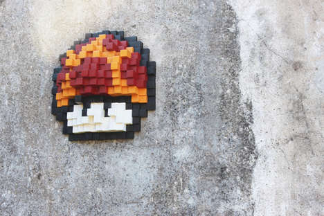 Gamified Graffiti Block Displays  - Sebastián Duccoli's Mushroom Art Will Please Gamers