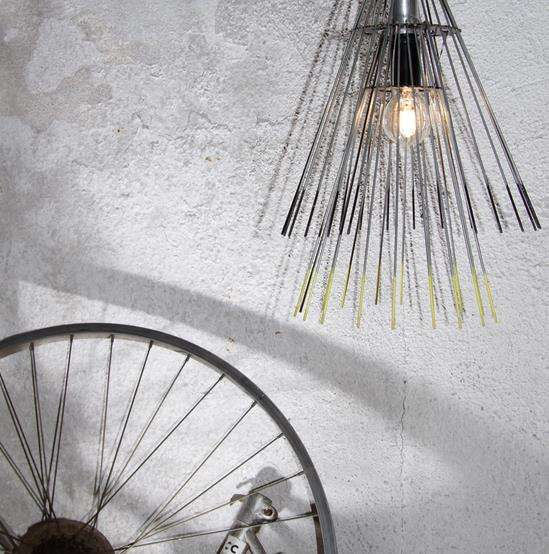 Recycled Bicycle Wheel Lamps