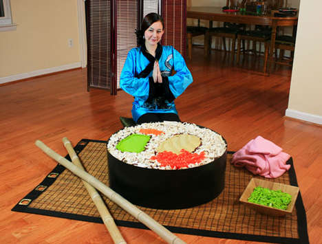 Giant Blocked Sushi Rolls - The LEGO Sushi Almost Looks Good Enough to Eat