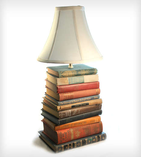 These Reading Lamps are Made from Stacks of Unused Books