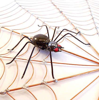 Metallic Spider Web Sculptures