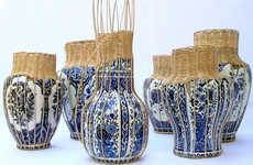 Wicker Porcelain Vases