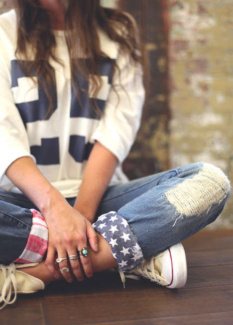 Patriotic DIY Pant Cuffs - This 'Free People' American Flag Accessory is Fitting for Jul