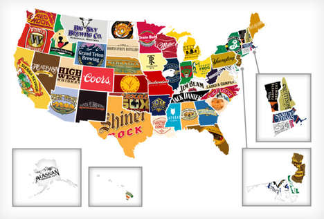Topographic Beer Drinking Infographics - This Infographic Shows Each State's Most Popular Beer