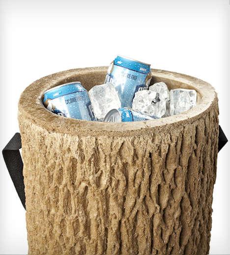 Wooden Stump Beer Coolers