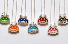 8-Bit Alien Necklaces