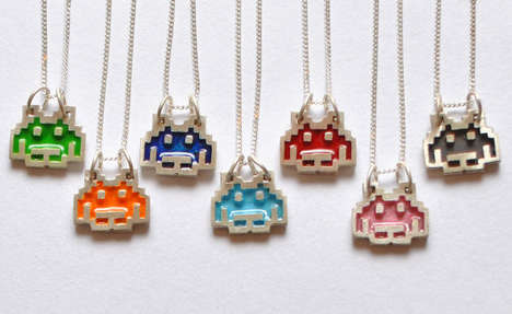 8-Bit Alien Necklaces