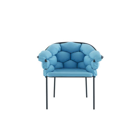 Bubbly Weaved-Cushion Chairs - This Cushioned Chair Threads Long Cushions Through Its Metal Frame