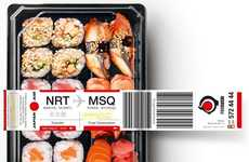 Airport-Inspired Sushi Branding - The 'Delivery from Japan' Packaging Imitates Luggage Tags
