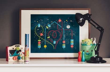 Tasteful Planetary Children's Art - 'Home is Where Your Heart is' is an Endearing Art Piece for Kids
