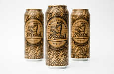 Faux-Wood Beer Cans - These Velkopopovicky Kozel Beer Cans Appear to be Made of Carved Wood