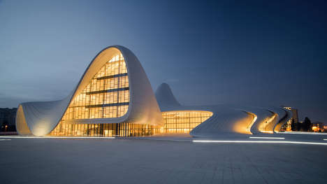 Fluid Architectural Forms - The Heydar Aliyev Centre be Zaha Hadid is Gorgeously Curvy