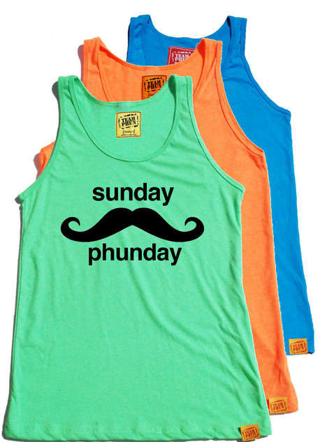 Mustached Men's Tanks - The Sunday Phunday Tank for Men is Perfect for Summer