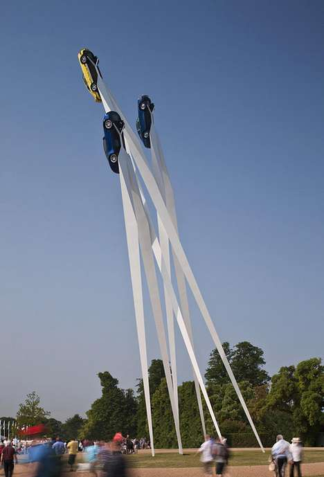 Dynamic Car-Rocketing Installations - This Piece Celebrates Porsche at the Goodwood Festival 2013