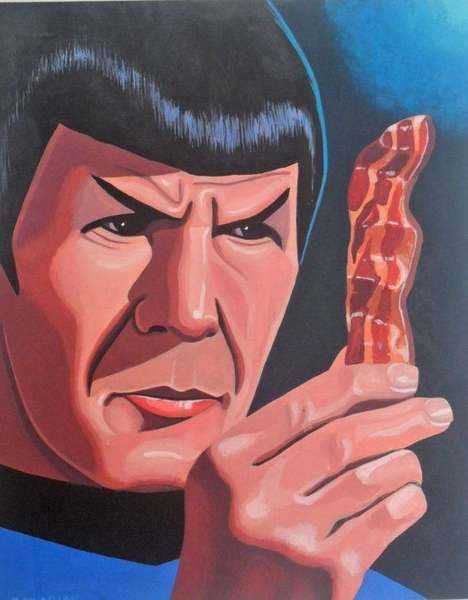 Bacon-Themed Sci-Fi Paintings - These Star Trek Spock Paintings Show the Space Agent Pondering Bacon