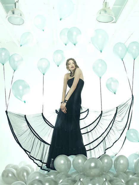 This Fashion Series Features Elegant Black Gowns and Balloons